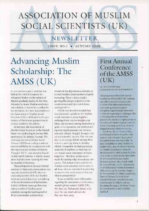 AMSS (UK) Newsletter Issue No. 1 (Autumn 1999)